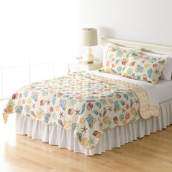 Home Classics Sarah Ocean Medley Reversible Quilt (White)