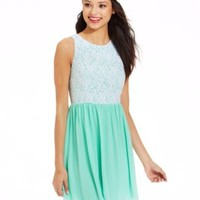 Emerald Sundae Juniors' Mixed-Media Dress | macys.com