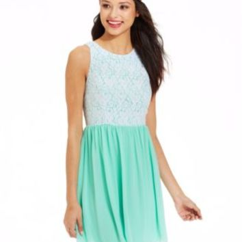Emerald Sundae Juniors' Mixed-Media Dress