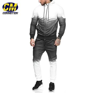 Fashion men's fitness sports sets cool gradient color joggers sportswear casual hoodies + pants
