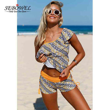 SEBOWEL 2017 Sexy Africa Tribal Print Tankini Swimsuit Women 2pcs Swimwear Tankini & Shorts Ruffle One Shoulder Bathing suit 3XL