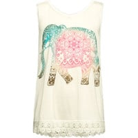 Full Tilt Elephant Crochet Trim Girls Tank White  In Sizes