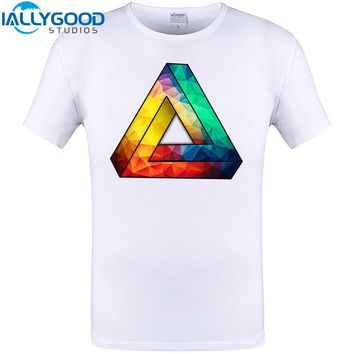 Cool Abstract Color Geometric Triangle Print Mens Fshion T Shirt 2017 New Summer Hipster Men Tops Funny Tee Shirts Plus Size 6XL