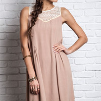 Lace To My Heart Flowy Dress - Mocha