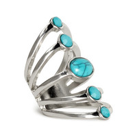 H&M - Wide Ring - Silver/turquoise - Ladies
