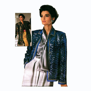 1980s SEQUIN JACKET Formal Evening Cocktail Party Glam 80s Dynasty 2Lengths Simplicity 7214 Connoisseur UNCUT Vintage Sewing Pattern Bust 38
