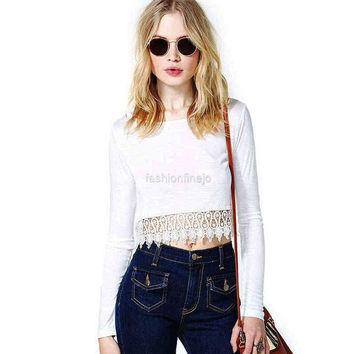 Zeagoo Womens Ladies Stylish Sexy Hot Long Sleeve Lace Blouses Top T-shirt
