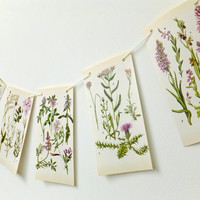Botanical Garland, Flower Bunting. Spring Bunting, Wedding Decor. Eco-friendly banner. Home Decor,  Pennants