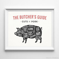 Pork Butcher Guide Print Wall Art Poster Kitchen Interior Decor White UNFRAMED by Inkist Prints