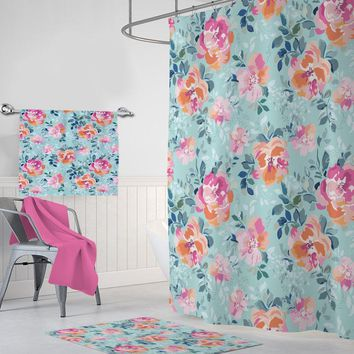 Floral SHOWER CURTAIN, Flower Shower Curtain Set, Pink Aqua Bathroom Decor, Custom Personalized Bathroom Decor Bath Towel Bath Mat Options