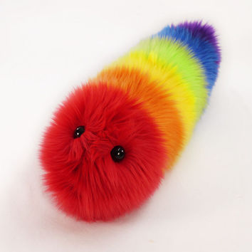 Rainbow Caterpillar Fuzzy Stuffed Toy Snuggle Worm Plushie medium size