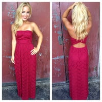 Maroon Lace Strapless Open Back Maxi Dress