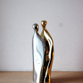 Man woman abstract sculpture  brass and aluminum set of by Akatos