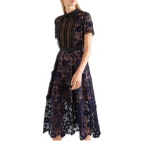 SMTHMA High Quality 2017 spring Hollow three-dimensional flower water-soluble lace short sleeves dress