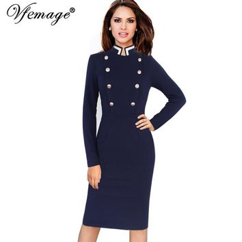 Vfemage Womens Autumn Winter Vintage Long Sleeve Stand Collar Double-Breasted Button Business Work Bodycon Pencil Dress 6172