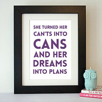 'Dreams Into Plans' Motivational Quote Print