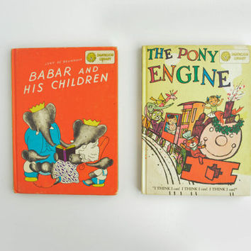 Vintage Dandelion Library Books - Benjamin Bunny - Bedtime Stories - Babar and His Children - The Pony Engine -  Illustrated