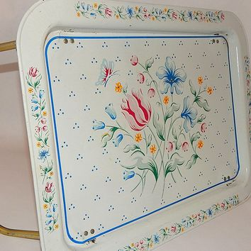 Vintage Bed Tray Portable Metal TV Lap Table Cottage Chic Tablet Ipad Laptop Tray