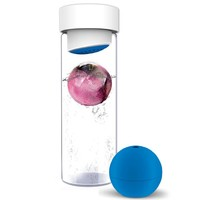Asobu Glass Water Bottle with Fruit Iceball Maker, Blue
