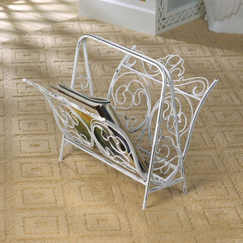 Vintage Magazine Rack - White