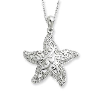 Sterling Silver Make a Difference Starfish Sentimental Expressions Necklace