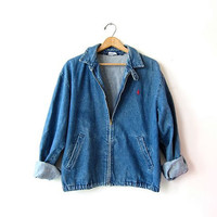Vintage denim POLO Jean Jacket. Zip up tomboy jean jacket. Worn in denim jacket. UNISEX Ralph Lauren Slouchy Oversized Distressed Boyfriend.