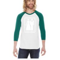 GAME OVER (HATE MARRIAGE) dark background -  3/4 Sleeve Raglan Shirt