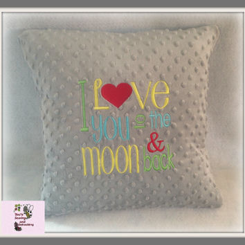 I Love you to the moon & back Pillow , Minky Pillow , moon Pillow , Baby Shower Gift , Grey Minky Pillow