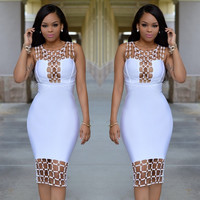 bodycon bandage dress 2016 women summer new style hollow out U neck  sequined bodysuit dress black white party dinner dress