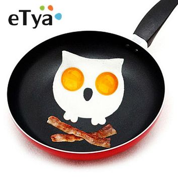 ETYA 1pc Breakfast Silicone Owl Animal Fried Egg Mold Pancake Mould Egg Ring Shaper Funny DIY Kitchen Tool
