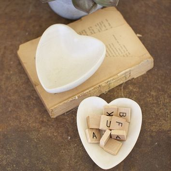 Carved Stone Heart Bowl - Light Grey