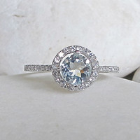 CZ Aquamarine Engagement Ring- Halo Ring- Promise Ring- Round Stone Ring- Anniversary Ring- Gemstone Ring- Rings for Her- Aquamarine Ring