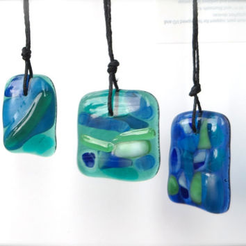 Trio Special Best Friends Fused Glass Necklaces Watercolors  by  The Wild Willows