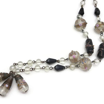 RESERVED Black and White Wedding Cake Bead Necklace - Art Glass, Long Necklace, Beaded Necklace, Venetian