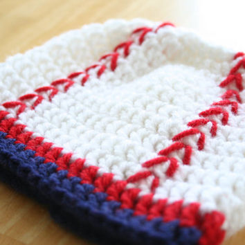 Toddler Baseball Hat, baby boy baseball, crochet photo prop, red, white and blue, 12 Months to 4T