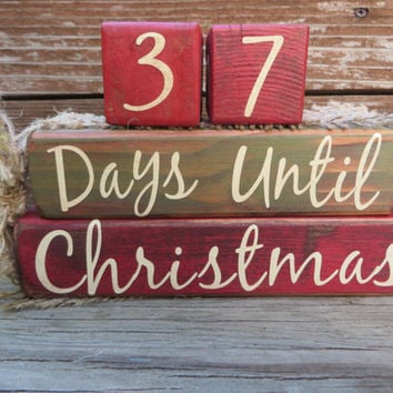 Vintage Christmas Countdown Blocks Advent Green Red