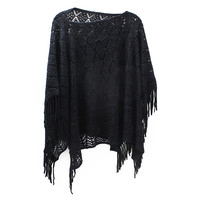 Womens  Diamond Knit Pullover Poncho