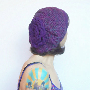 Hipster Slouch Hat in Purple with Large Focal Flower, ready to ship.