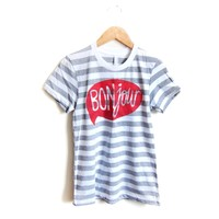 Supermarket: Bonjour - Hand Stenciled Striped Word Bubble Rolled Cuffs Hello Tee in Heather Grey and White from Alyssa Zukas