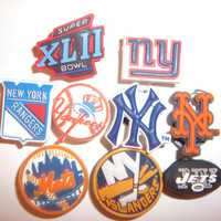 9 New York Sports Fan Button Shoe Charms for Jibbitz bracelets or Crocs shoes