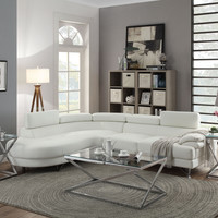 Bobkona 2pc Sectional Sofa White