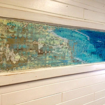 Original Sander Painting - Reef - Beach House Art Wall Decor Door Panel Painting by CastawaysHall