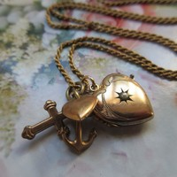 Antique Heart Star Burst Locket with Faith Hope and Charity Charms Long Locket Necklace
