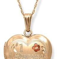 14k Yellow Gold-Filled Tri-Color Engraved #1 Grandma Heart Locket, 18""