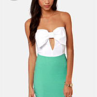 LULUS Exclusive Bow Down Strapless White and Mint Green Dress