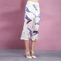 Casual Abstract Painting Printed Wide Leg Pants