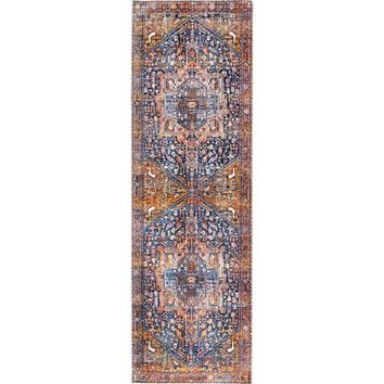 "Gracewood Hollow Lapointe Medallion Border Rust Tassel Runner Rug (2' 6"" x 8') 