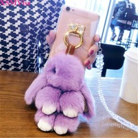 XSMYiss Cute Animal Case For iPhone 5C 5 5S SE 6 6S Plus Cover Rabbit Fur Case For iPhone X 8 7 7 Plus Phone Accessories Fundas