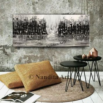 """CITYSCAPE PAINTING, 72"""" Skyline wall art Abstract Artwork Home Office Decor Large Original Building Modern Birthday Gift by Nandita Albright"""