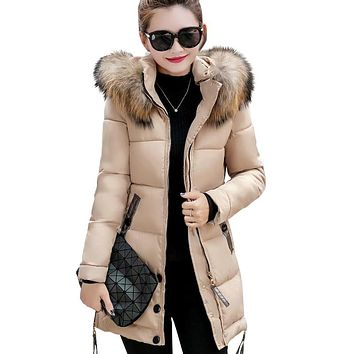 2019 fur collar plus size 3XL women winter hooded coat female outerwear parka ladies warm long jacket slim jaqueta feminina